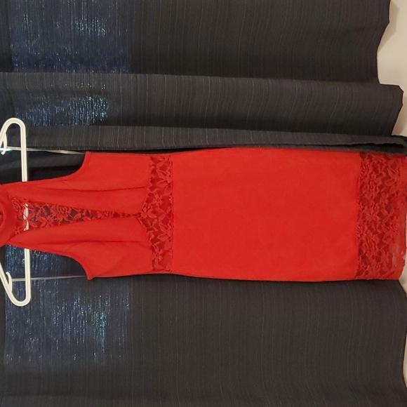 Charlotte Russe red lace cutout dress